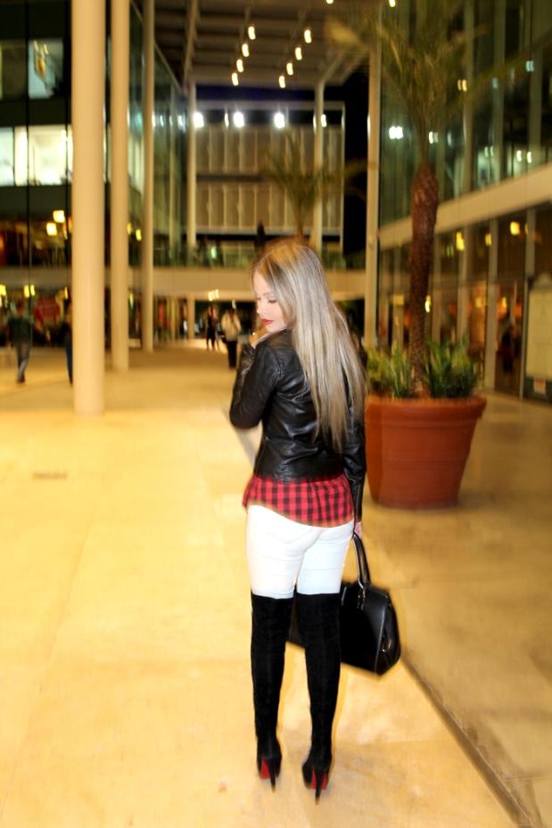 sininhu sylvia santini meu look blog got sin shopping iguatemi serra fashion 2014 blog moda camisa xadrez vermelha bota thigh high cano longo jaqueta couro Obey grunge 11