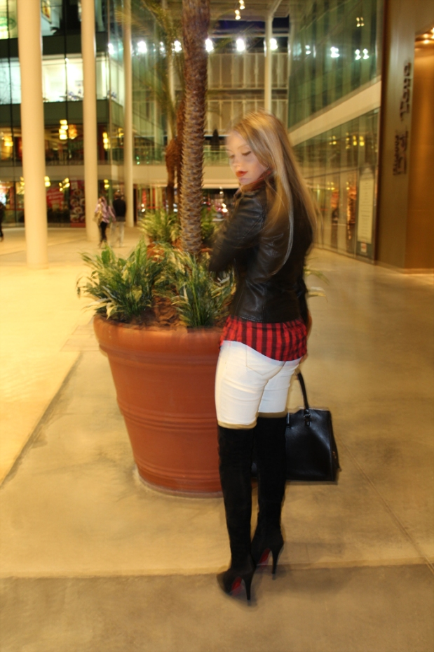 sininhu sylvia santini meu look blog got sin shopping iguatemi serra fashion 2014 blog moda camisa xadrez vermelha bota thigh high cano longo jaqueta couro Obey grunge 12