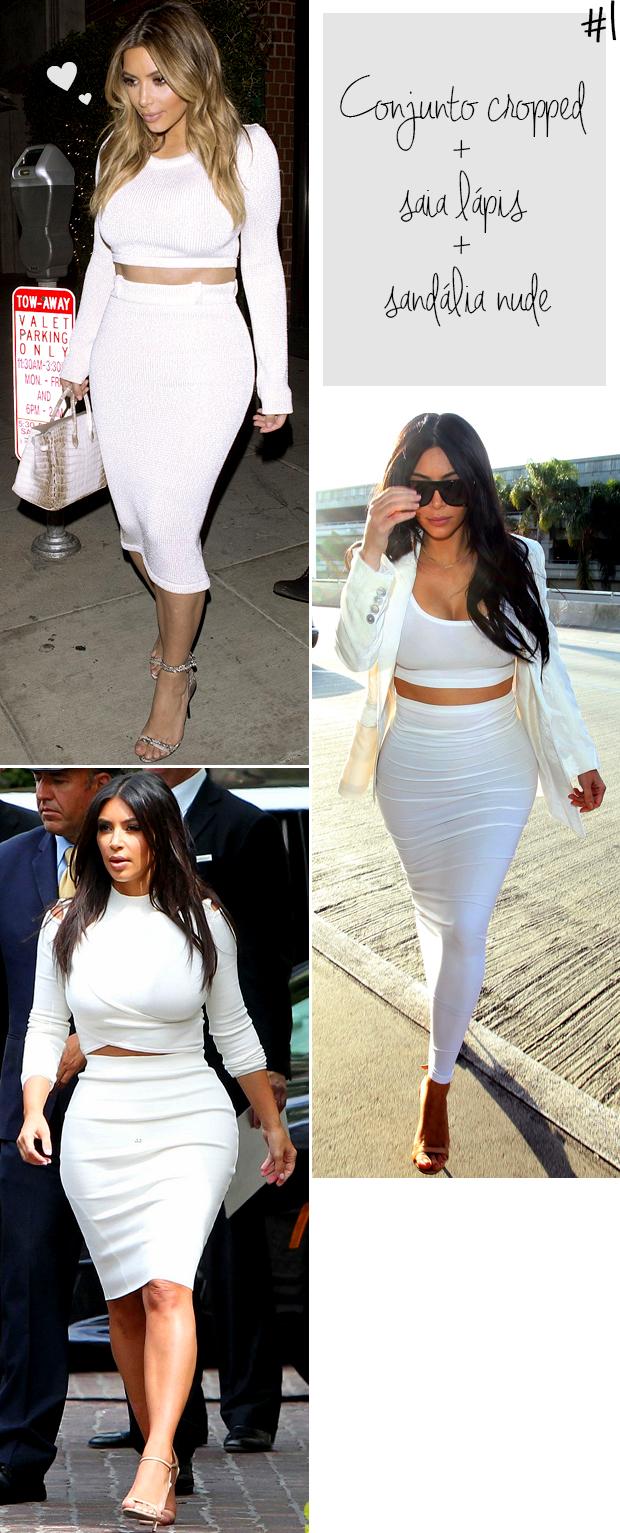 kim kardashian looks iguais cropped top e saia lápis branco blog got sin-